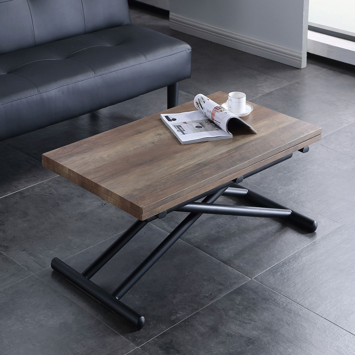 Scissor Lift And Extending Coffee Table Convertible Dining Table