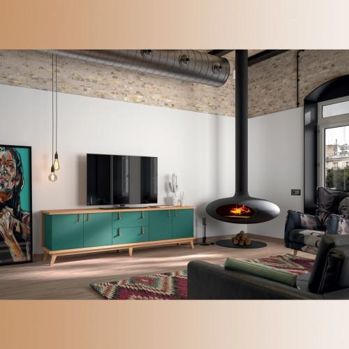 Mesa TV verde jade y roble, tirador cobre