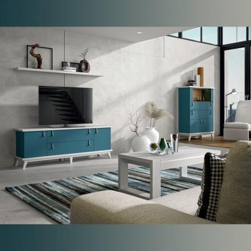 Composición salón, blanco pamukkale y azul índigo, tirador plata vieja.