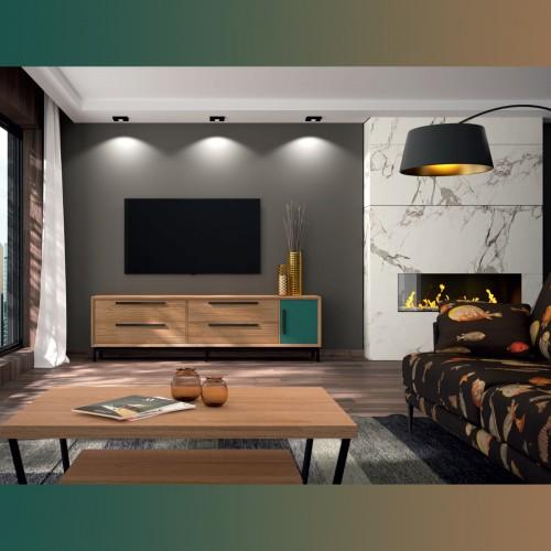 Composition living room, Jade green and oak, black handle.