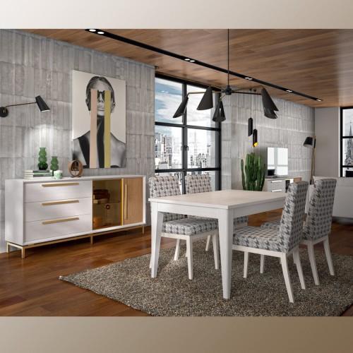Composición comedor, blanco pamukkale y roble, tirador y puerta en oro.