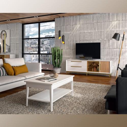 Composición salón, blanco pamukkale y roble, tirador y puerta en oro.