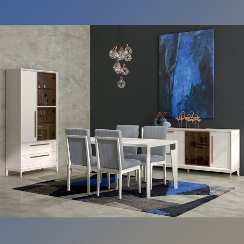 Composition dining room white decape, copper door and handle.