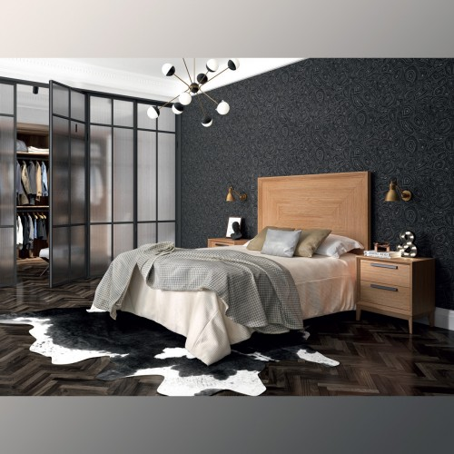 Composition bedroom, oak with black handle.