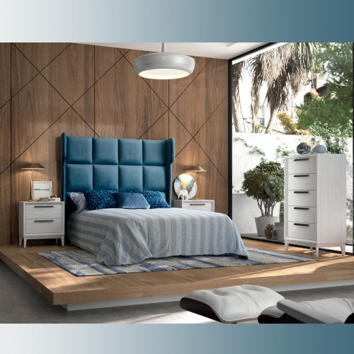 Composition bedroom white pamukkale and velvet with black handle.