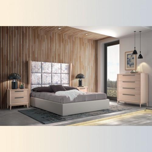 Composición dormitorio arce y tirador negro.