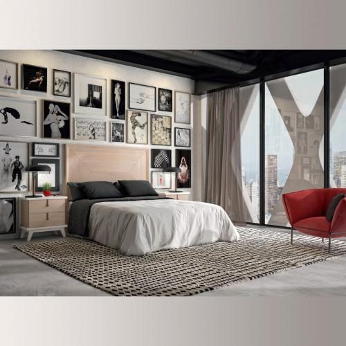 Composición dormitorio arce y blanco lona, tirador negro.