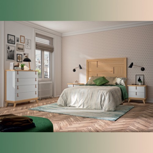 Composition bedroom oat and white pamukkale, with copper handle.