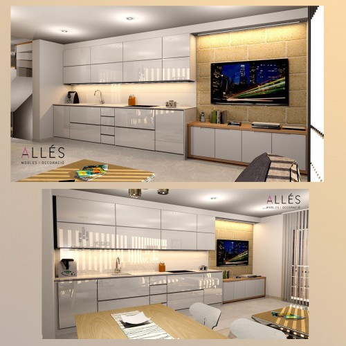 Kitchen, dining and living room, Duplex Ferreries