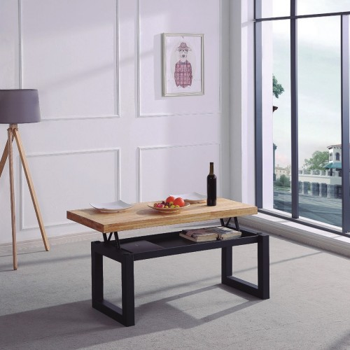 Lift-top coffee table with interior drawer.