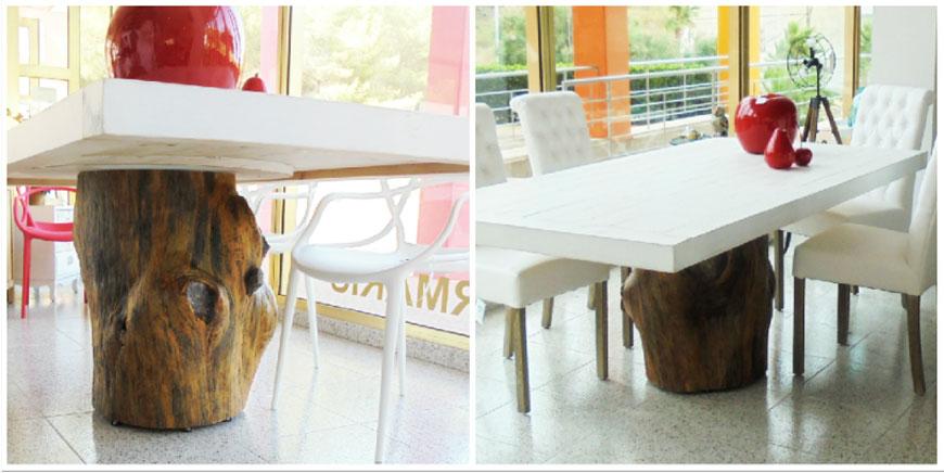 Raw, mesas con pies hechos con troncos