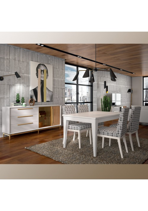 Composition dining room, white pamukkale & oak, door and handle in gold.